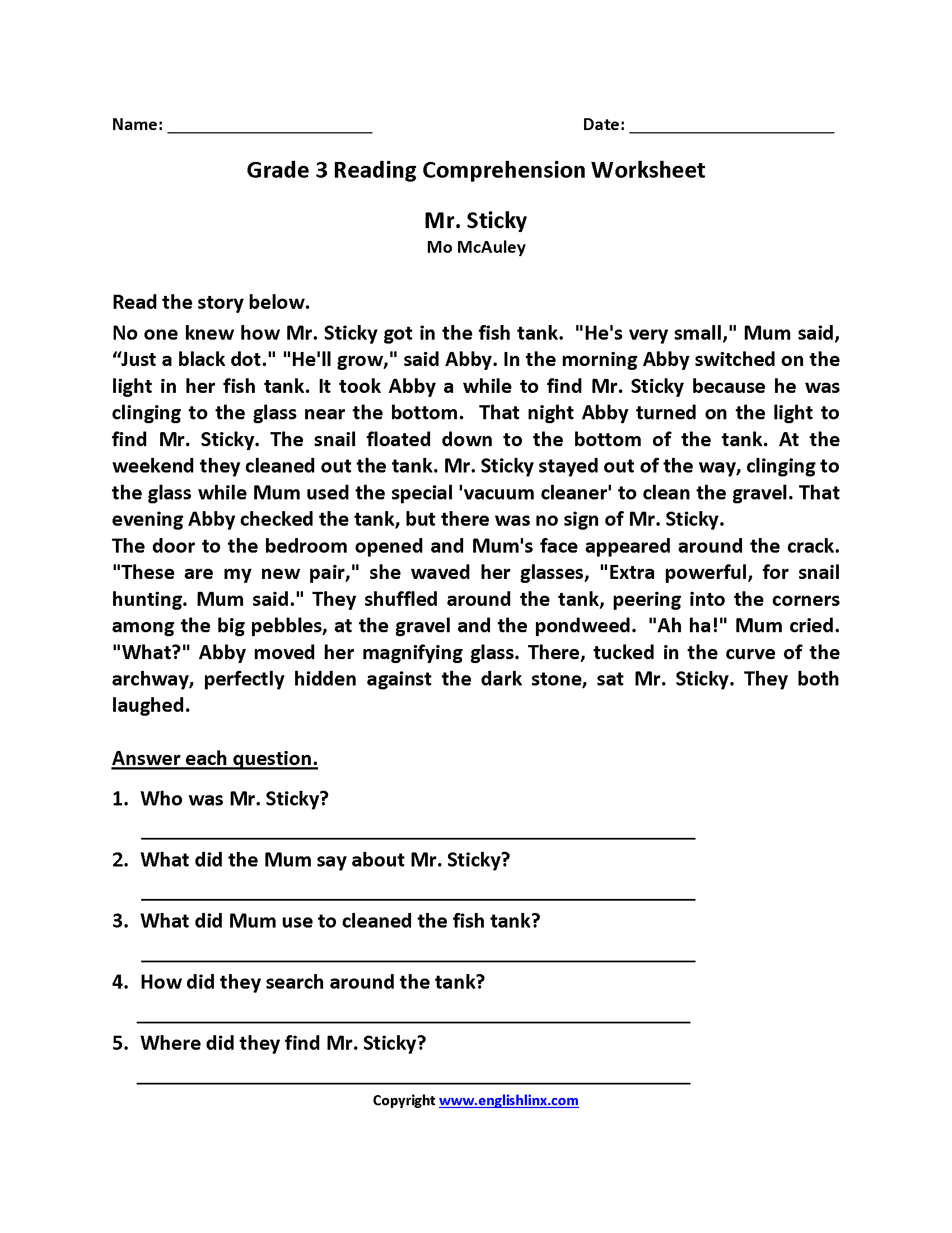 Mr Sticky Third Grade Reading Worksheets With Images