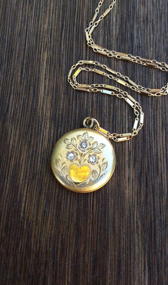 Vintage Gold Filled Round Locket with Brilliants by AudreySparrow
