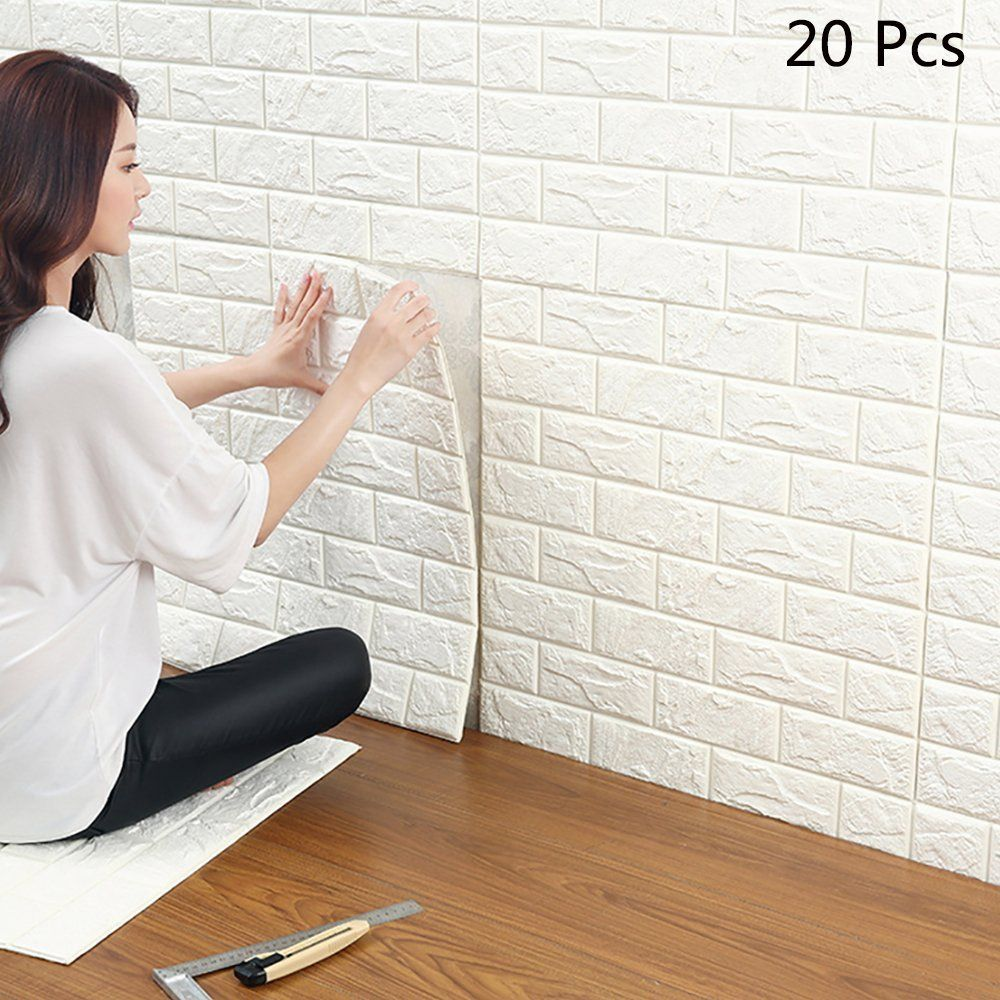 Carta da Parati Mattoni Bianco 3d , YTAT 3D Brick Wallpaper Stickers ...
