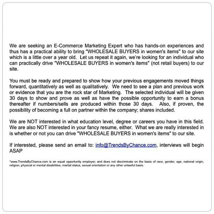 TrendsByChance is seeking an E-Commerce Marketing Expert who has