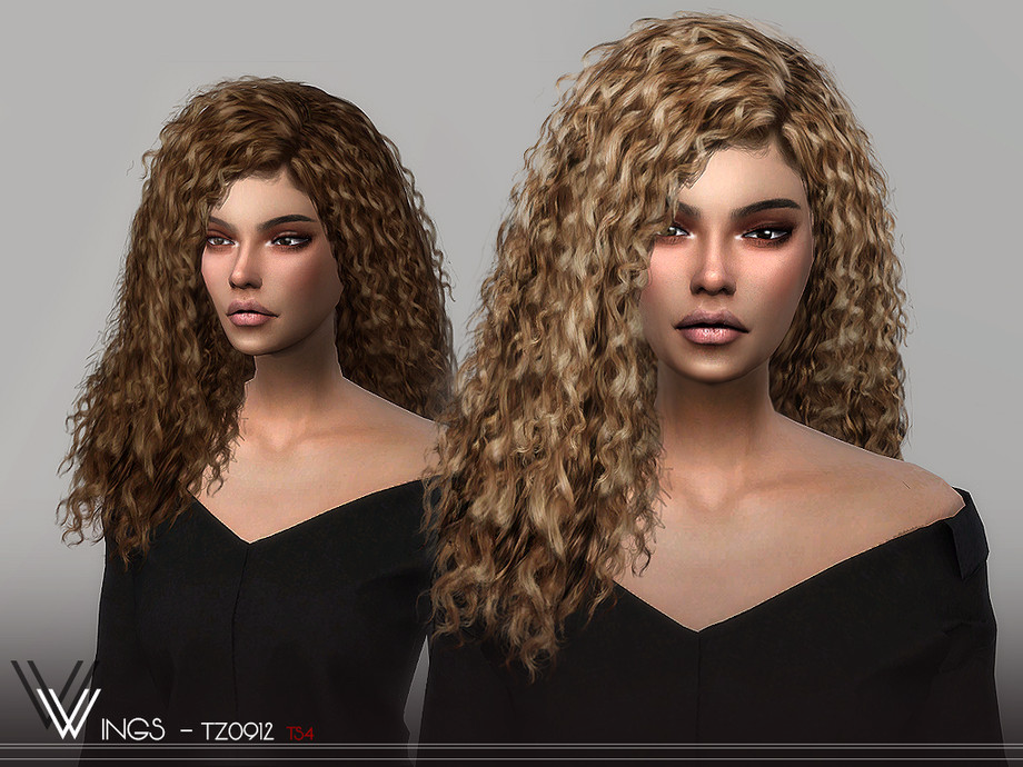 wingssims WINGS TZ0912 Sims 4 curly hair Sims hair Sims 4
