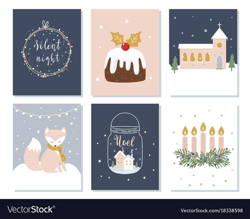 Photo of Set of Christmas and Winter Holidays Cards. Advent Wreath, Church and Lettering …