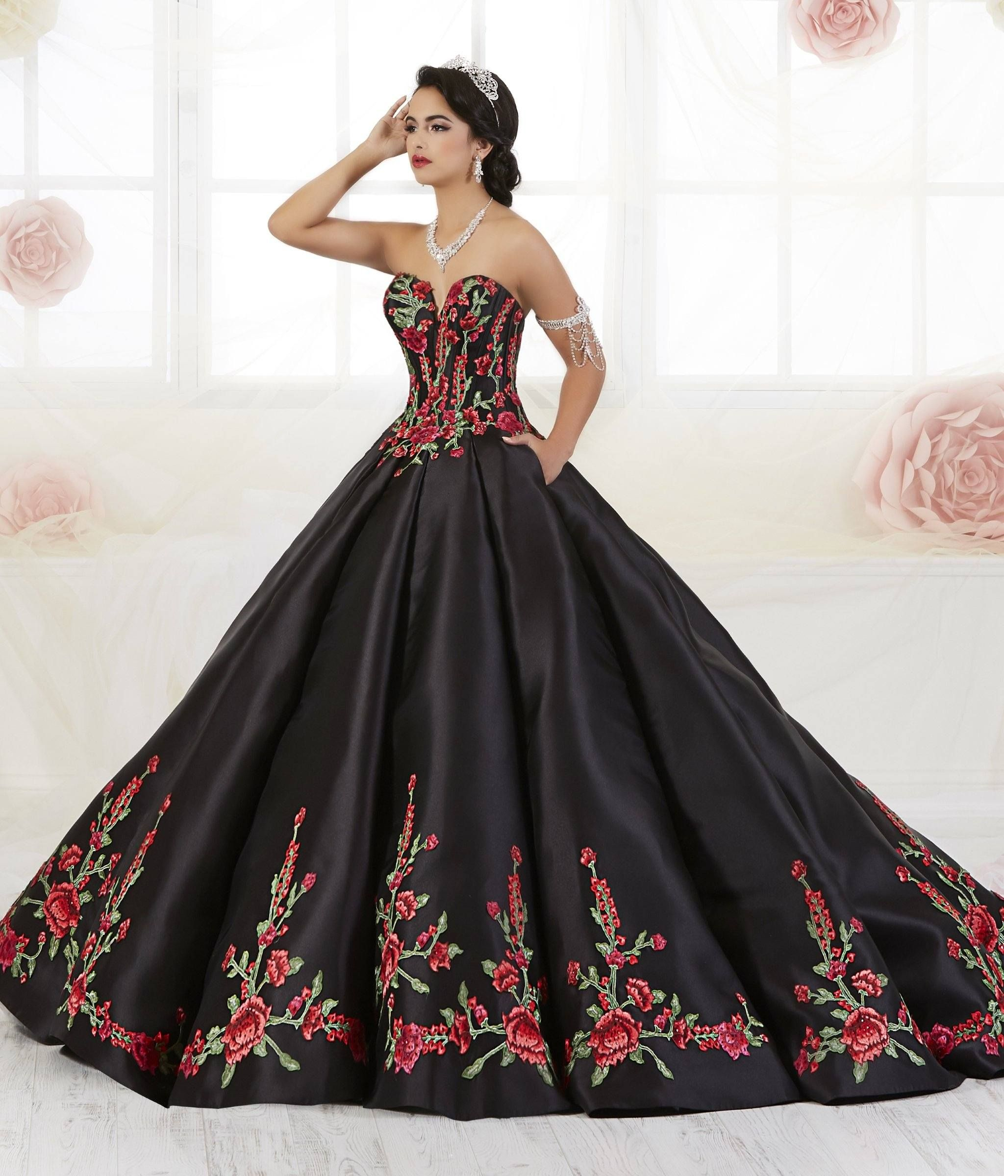 Floral Charro Quinceanera Dress By House Of Wu 26908 In 2021 Quince Dresses Mexican Mexican Quinceanera Dresses Quinceanera Dresses [ 2400 x 2048 Pixel ]