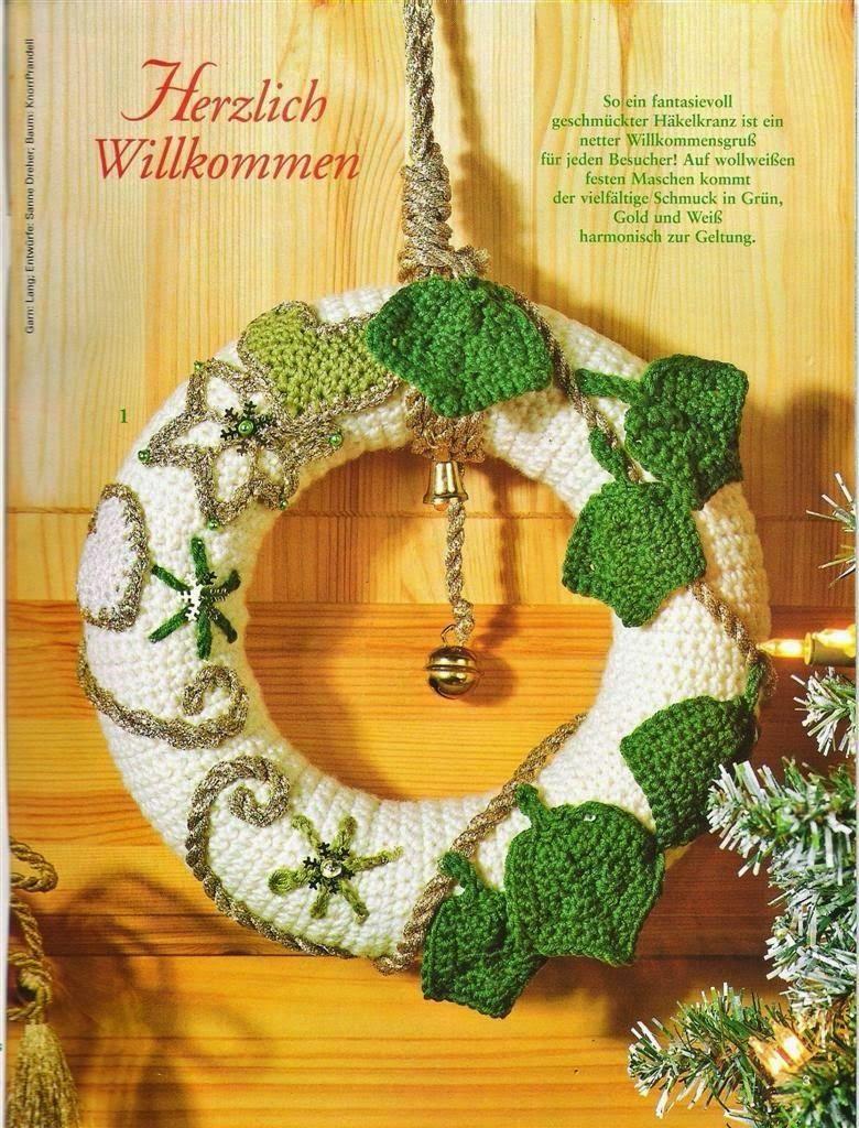 Todo crochet rosca de navidad para la puerta idea al - Coronas de navidad para puertas ...