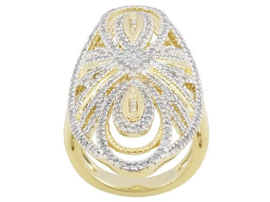Park Avenue(Tm) 1.36ctw Round And Baguette 18k Yellow Gold Over Sterli