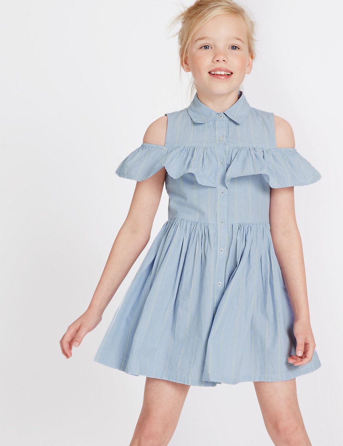 Gestreiftes Kleid Aus Reiner Baumwolle 3 14 Jahre 2020 Goruntuler Ile Sirin Elbiseler Yazlik Kiyafetler Cocuk Giyim