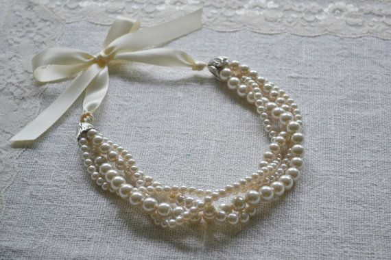 Jackie: Multiple Twisted Strand Ivory Pearl Necklace with