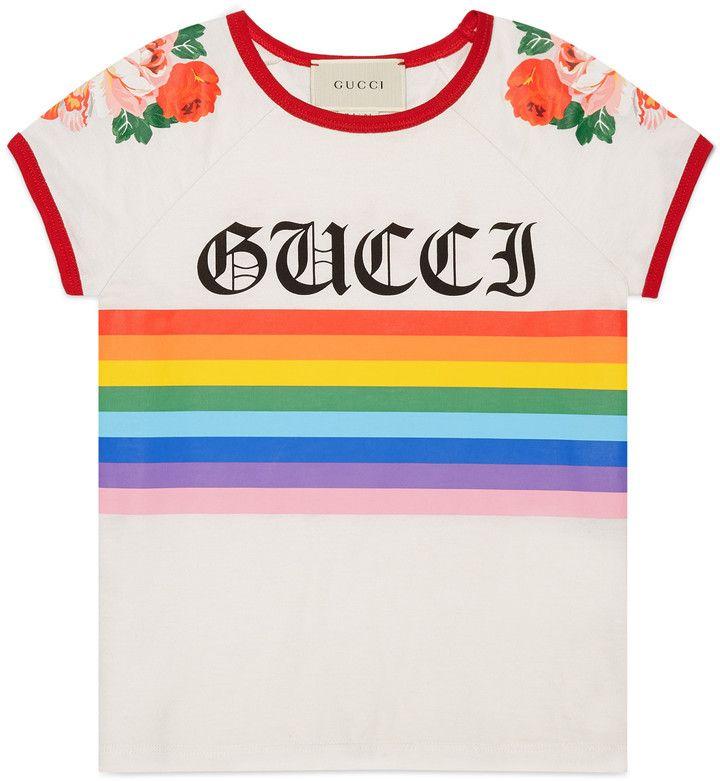 0183f2b1b3de Girls Gucci Cotton T-Shirt Rainbow Print $175 Loved Printed On Back http:/
