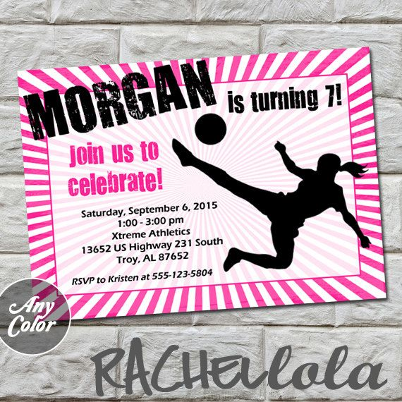 Girl Soccer invitation do-it-yourself digital print by Rachellola