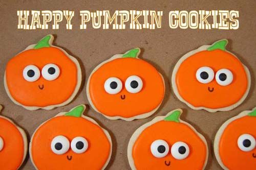 Happy Pumpkin Cookies - simple enough for the kids to decorate - halloween pumpkin cookies decorating