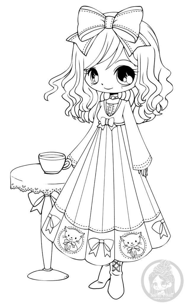 little girl coloring pages not copyrighted | Dessin Chibi à imprimer le café d'Annabelle par YamPuff ...