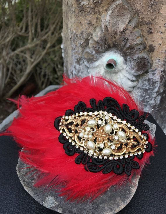 53af1bf6e Red Feather Hair Clip With Vintage Gold Repurposed Brooch Jewelry And Black  Lace