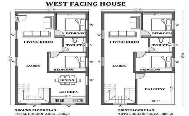 20'x40' West facing home plan as per Vastu shastra is given in this Autocad drawing file Download now