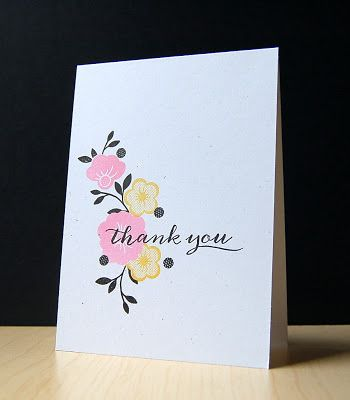 Floral Thank You Card by Cristina Kowalczyk for Papertrey Ink (May 2013)