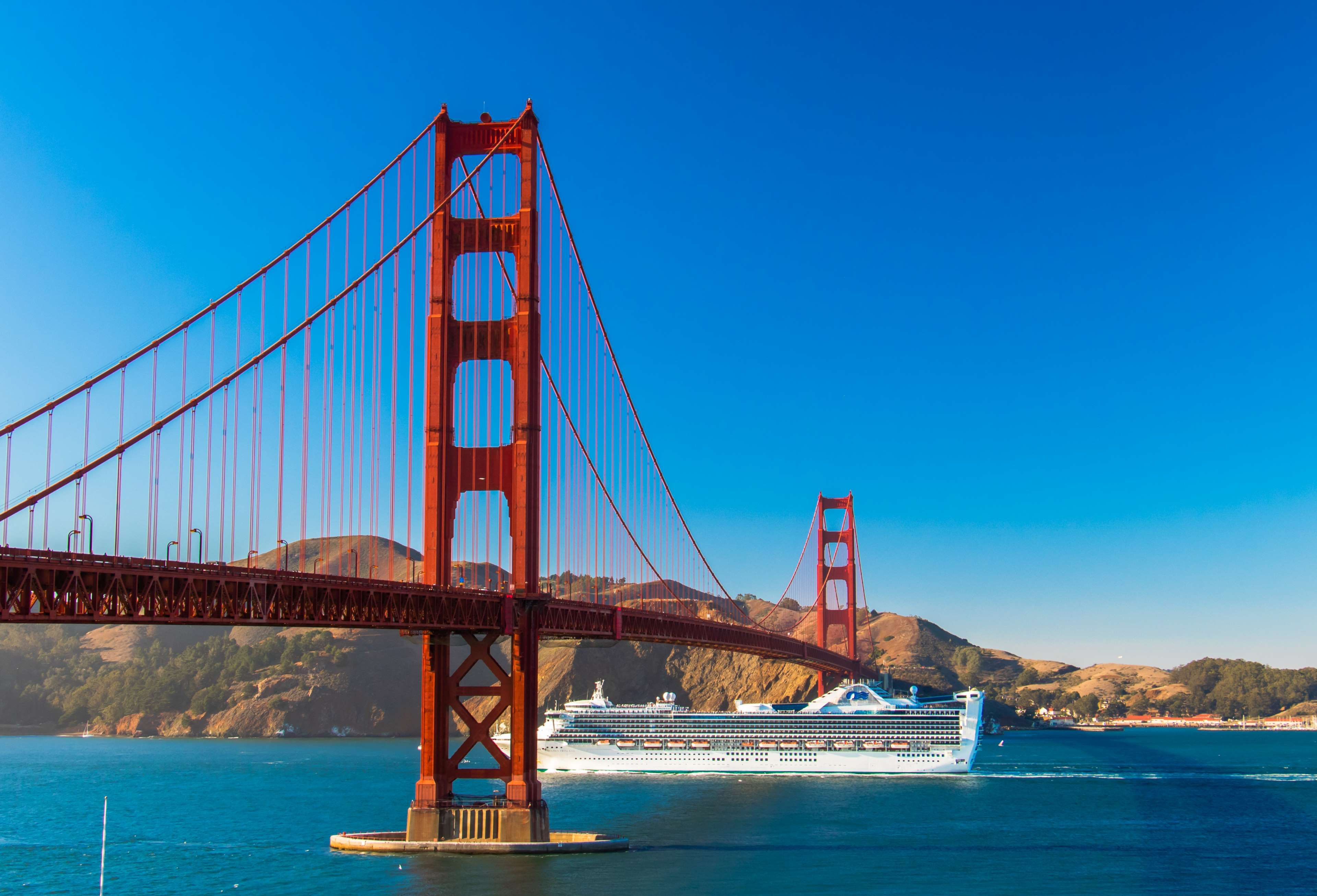 Architecture Blue Sky Bridge Cruise Cruise Ship Golden Gate Bridge No Clouds San Francisco 4k Golden Gate Bridge Golden Gate Sky Bridge