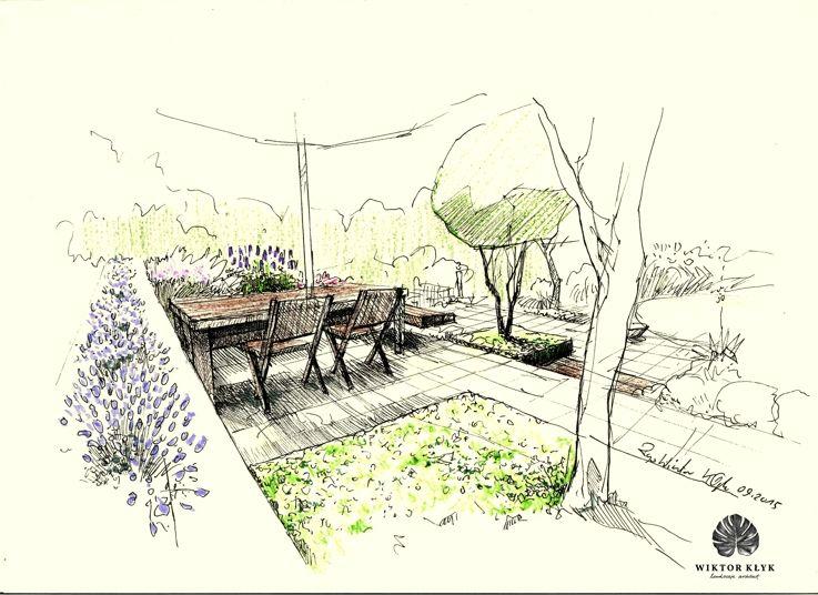 Landscape Architecture Perspective Drawings terrace garden. | wiktor kłyk- landscape architect | pinterest