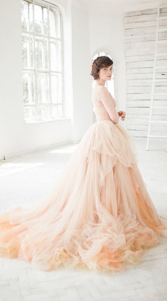 Nude tulle wedding skirt // Peony | Brautkleider, Vintage ...