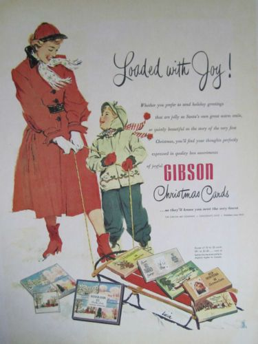 Vintage 1950s Gibson Christmas Cards Mom Boy Sled Advertising Color
