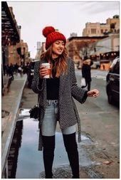 Fall Outfits Ideas for Women Casual Comfy and Simple  Coupon Valid 35 Fall Outfits Ideas for Women Casual Comfy and Simple  Coupon Valid  Black sweater with a red beanie...