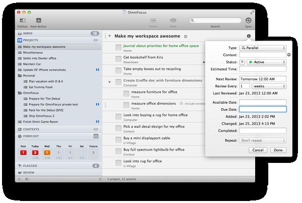 OmniFocus 2 main screenshot Omni group, My workspace