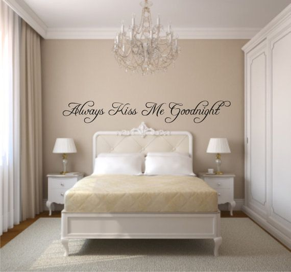 Always Kiss Me Goodnight Wall Decal Sticker, Bedroom Wall Decor, Quotes For  Couples,