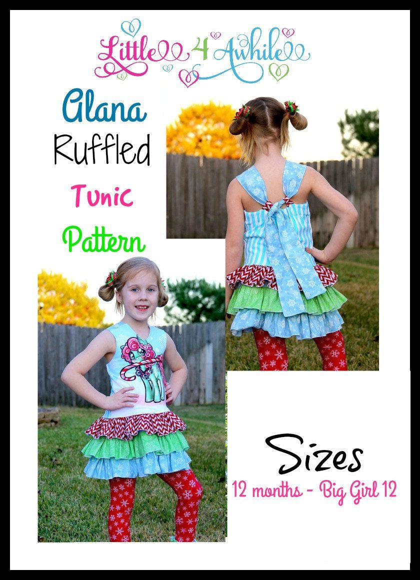 Girls Alana Ruffled Tunic Pattern Pdf Sewing Sizes 12 Months Instant Download