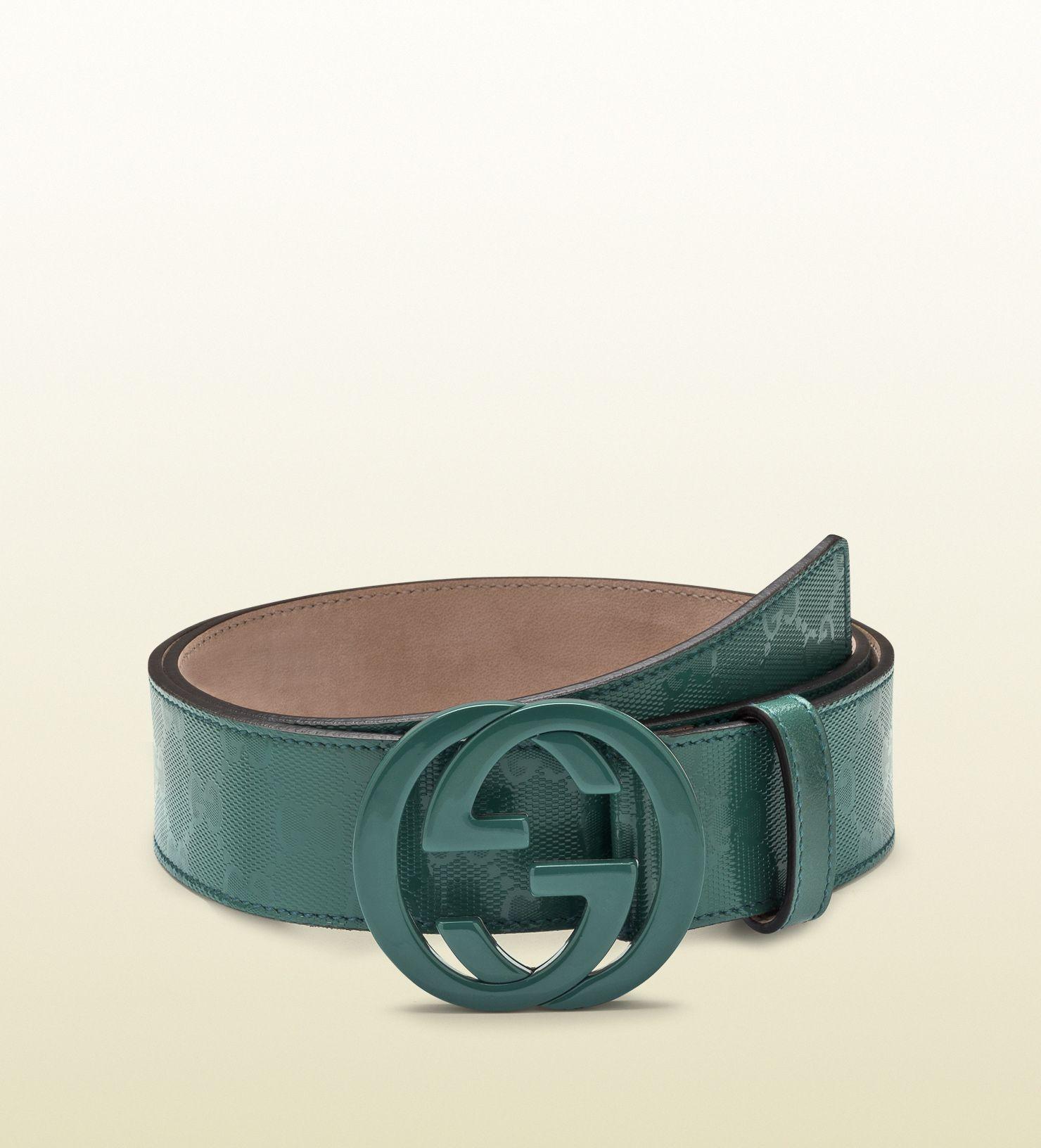 96632f5c6 dark green gg imprimée belt with interlocking G buckle | Leather ...