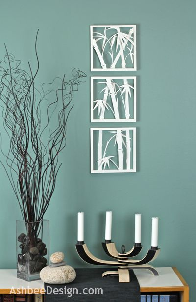 Zen Art with Bamboo Silhouettes • DIY. Not a huge fan of the bamboo silhouette, but the concept is awesome. Might try making a few (tweaked to my liking) in black for the boys' hallway.
