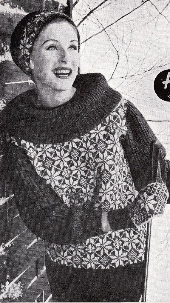 Vintage Knitting Pattern Instructions to Make Ladies Fair Isle ...