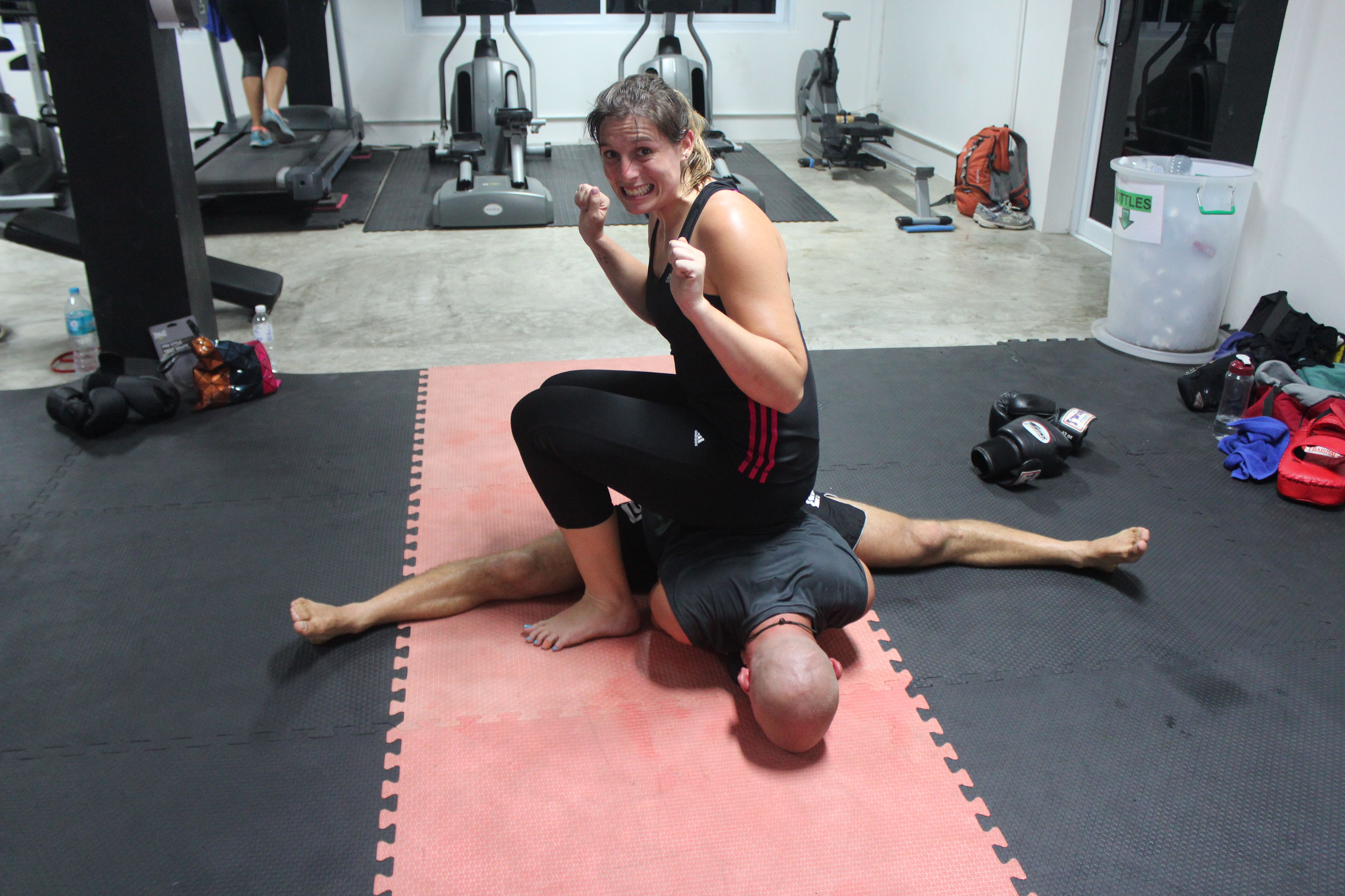 During one of our kickboxing classes in gym fitness koh