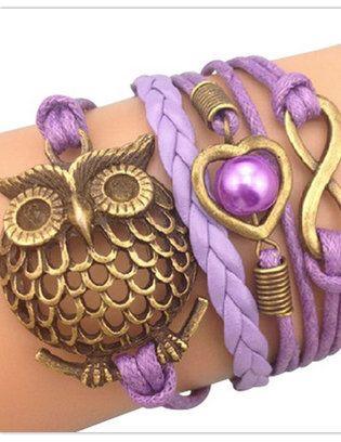 Purple Owl & Charm Party Bracelet