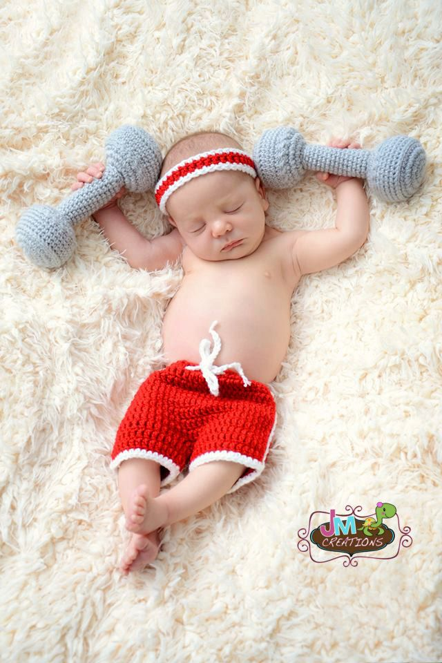 Workout Set - Weightlifter Set- Newborn through 12 months - Crochet ... ec6fde000abd