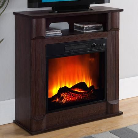 Prokonian Electric Fireplace With 26 Mantle B0213 Dark Cherry Walmart Com Cheap Electric Fireplace Freestanding Fireplace Tv Stand Wood