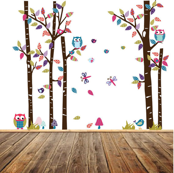 Colorpop Jungle Safari Wall Decal Etsy Nursery Wall Decals Owl Tree Wall Decal Birch Tree Wall Decal