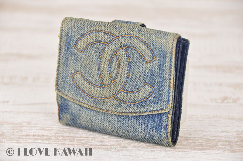 CHANEL Blue Denim Leather CoCo Mark Bifold Purse