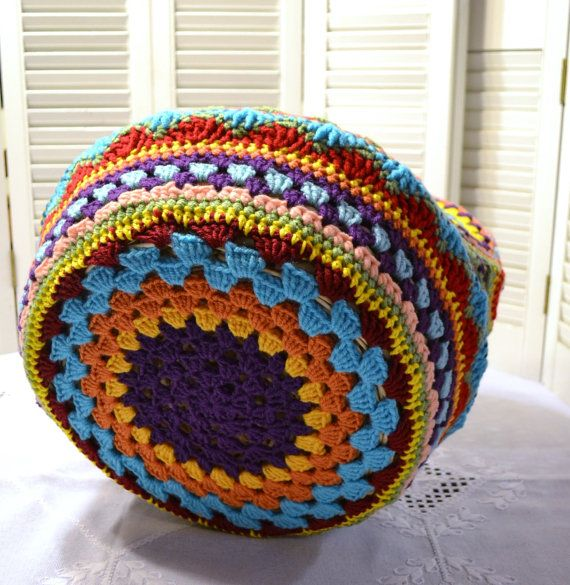 Crochet Cat Cave Pet Bed Upcycled Wicker Basket Mulitcolor Boho