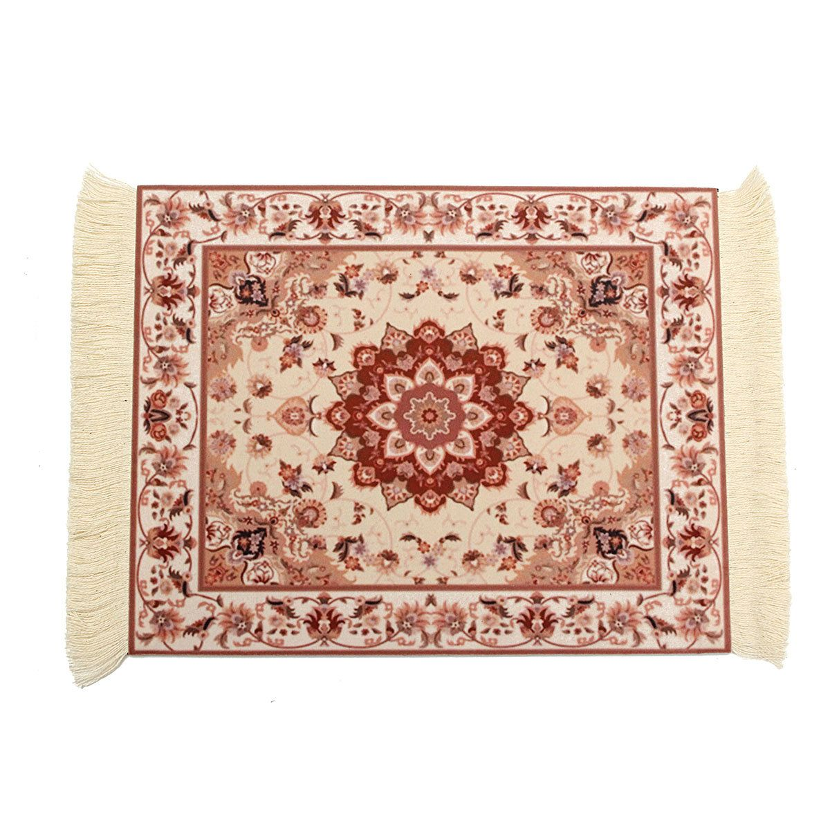 28x18cm Persian Style Mini Woven Rug Mouse Pad Carpet Mousemat With Fringe