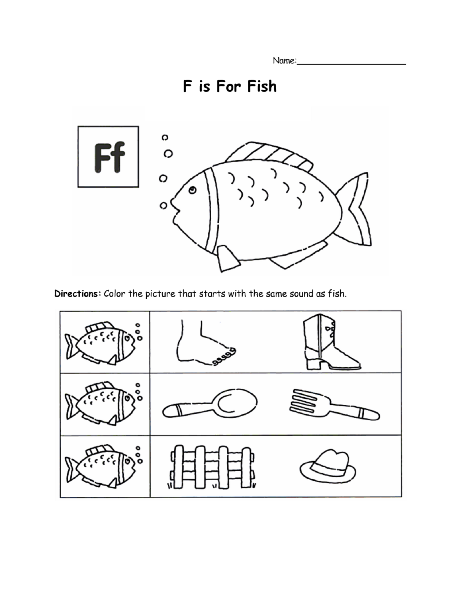 Letter F Worksheet For Letter Learning