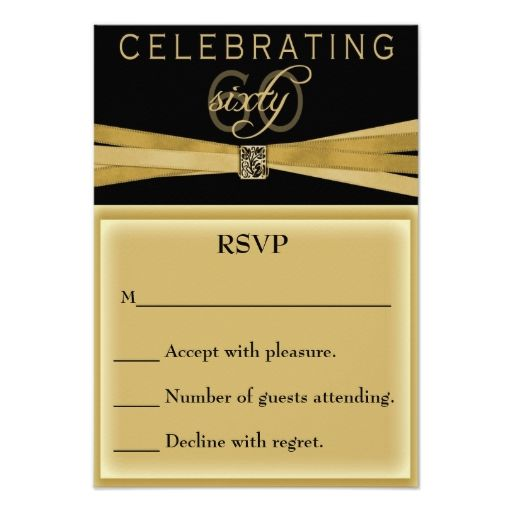 Elegant 60th Birthday Party Invitations RSVP Card Rsvp Party