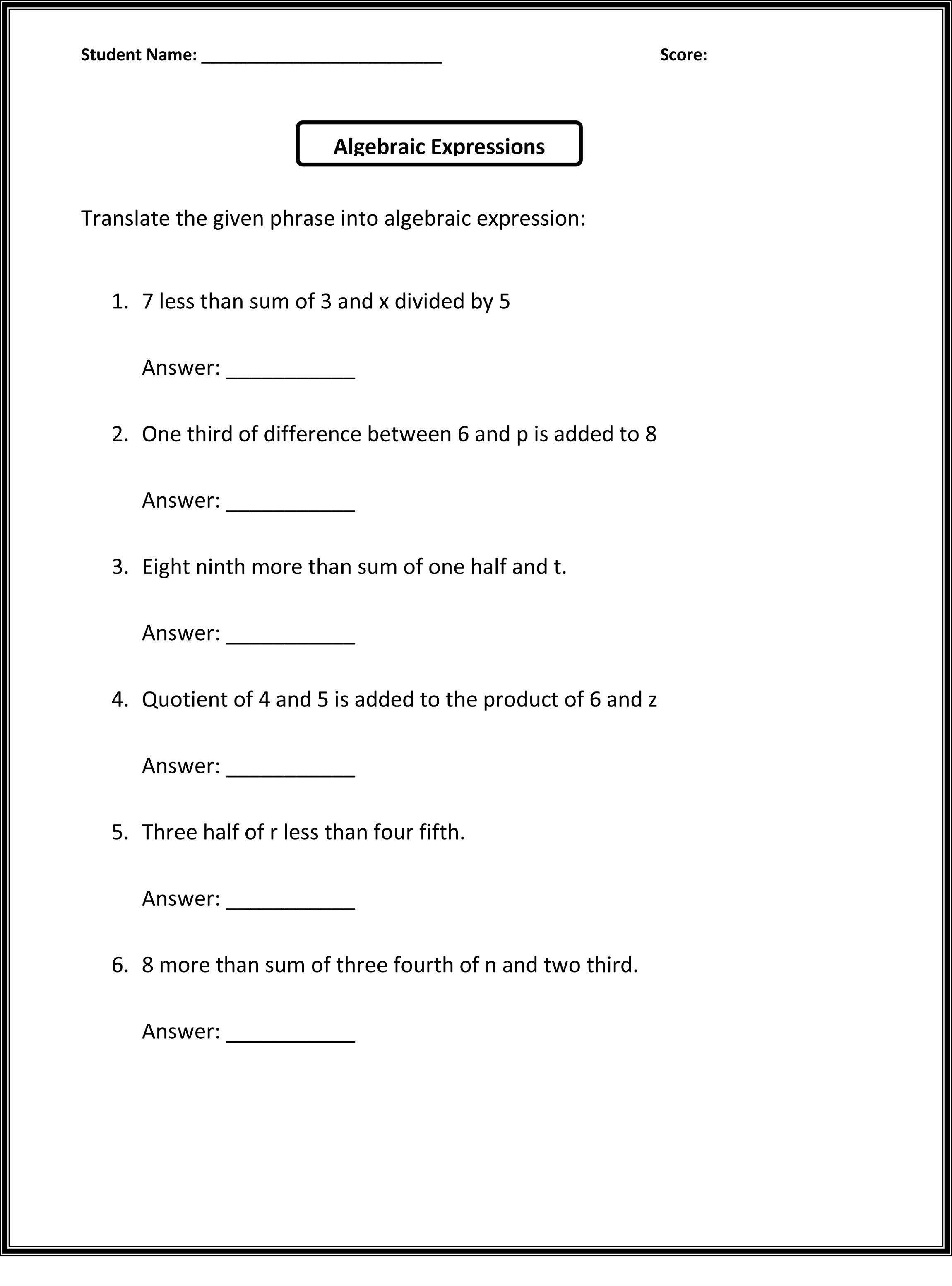hight resolution of 6th Grade Worksheets to Print   6th grade worksheets