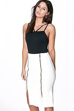 b59b9bcae78a Nola Double Zip Front Textured Midi Skirt | Pencil Skirts | Skirts ...
