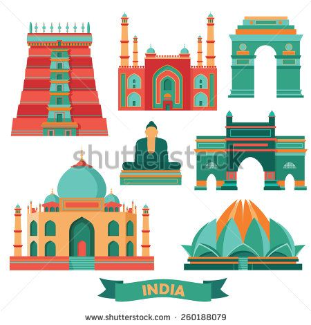 India Famous Monuments Vector Illustration Stock Vector India