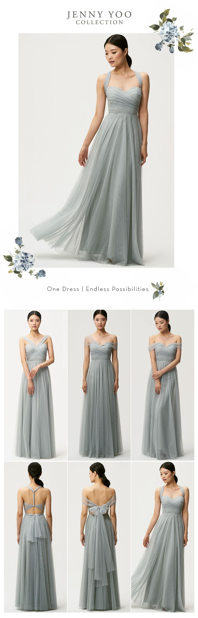 98f6a553c7 Jenny Yoo Bridesmaids, the convertible soft tulle Julia dress features back  tie panels and detachable straps that can be used to create different  necklines.