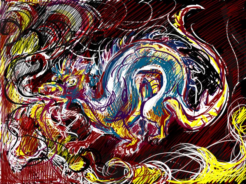 Sputafuoco /disegno digitale #drago #fuoco #disegno #tratteggio #bozzetto