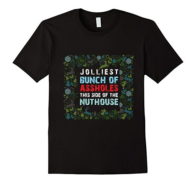 Men's Jolliest Bunch Of A Holes Funny Christmas Vacation TShirt 2XL Black