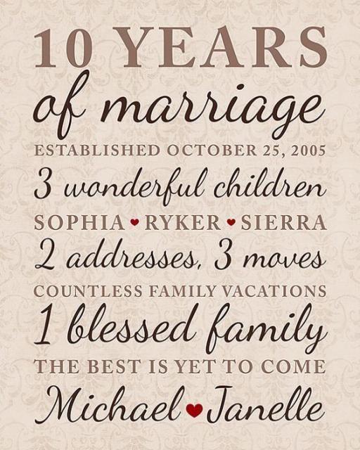 10th Wedding Anniversary Quotes For Husband: Mensagem Contando As Conquistas Do Casal.