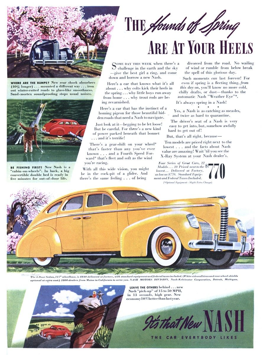 1939 Nash car ad | Vintage Car Advertising | Pinterest | Cars, Ad ...