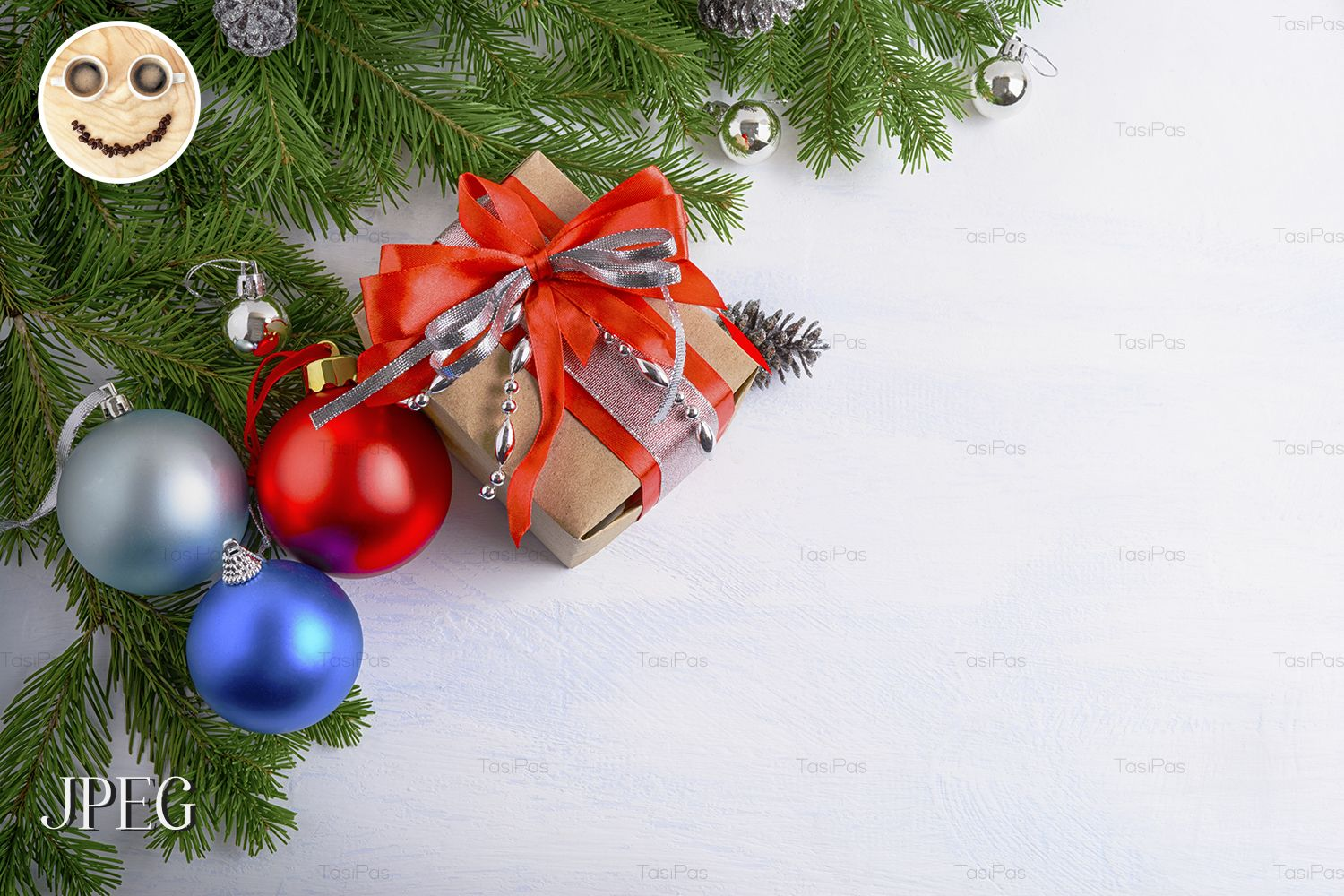Christmas background with gift box and multicolored