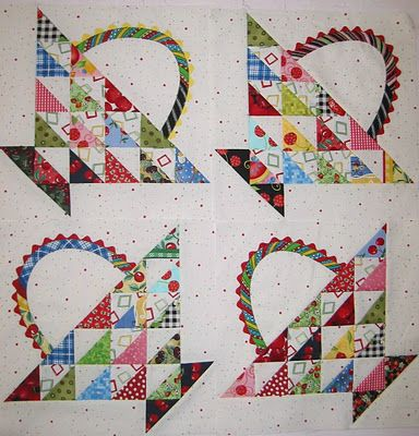 scrappy basket quilt blocks love the ric rac on the handles.