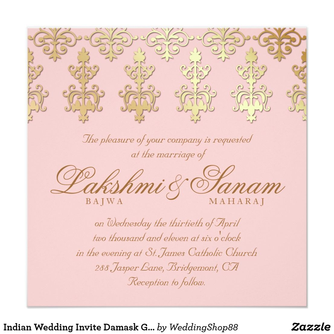 Indian Wedding Invite Damask Gold Baby Pink Zazzle Com Indian Wedding Invitations Wedding Cards Wedding Invitations